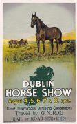Irish Art Travel Railway Poster, Dublin Horse Show, Ireland